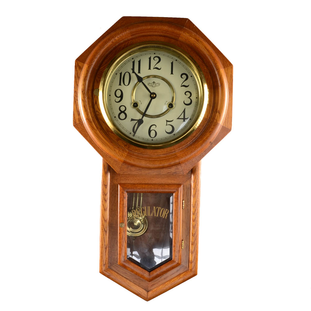 DA Regulator Oak Schoolhouse Wall Clock EBTH