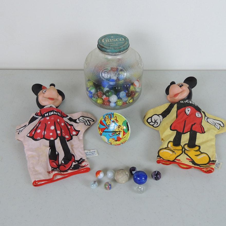 1963 Gund Walt Disney Mickey Minnie Puppets And Marbles Ebth