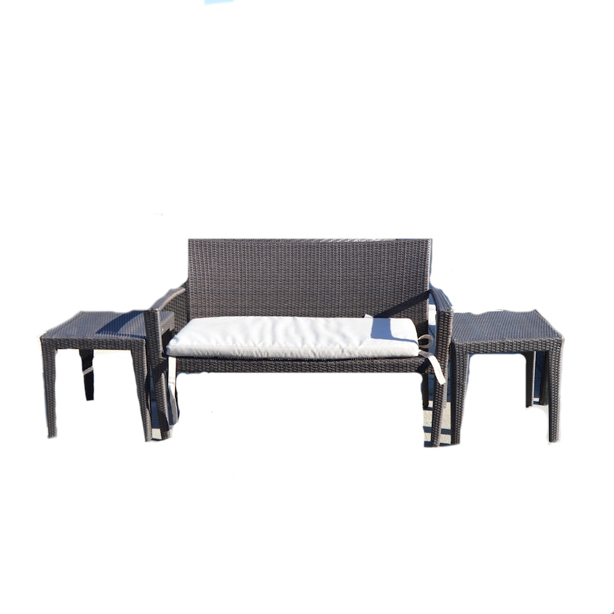 Residenz by Domus Ventures Patio Bench with End Tables ... - Residenz By Domus Ventures Patio Bench With End Tables : EBTH