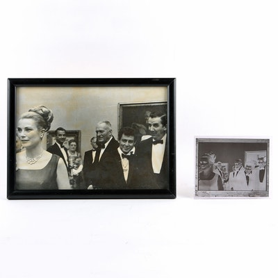 Original Negative and Silver Gelitan Photograph of Ed McMahon with Grace Kelly