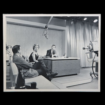 """Silver Gelatin Print of First """"The Tonight Show"""" Taping with Joan Crawford"""