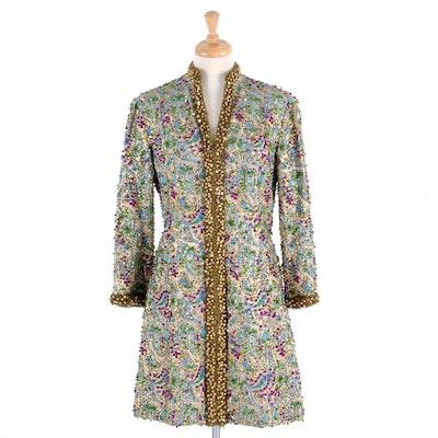 Early 1970s Victoria Royal Ltd. Beaded Brocade Evening Dress