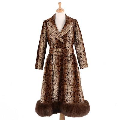 Women's 1970s Snake Print Velveteen Dress with Sable Fur Trim