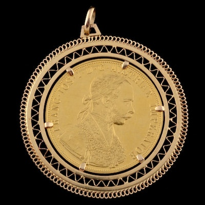 24K Gold 1915 Austria Gold Ducat Coin Pendant with 18K Openwork Frame