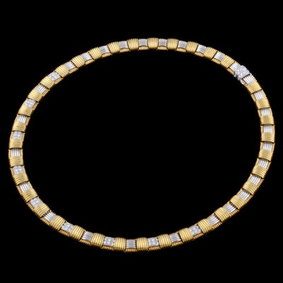 Roberto Coin Designer Apassionata 18K Two Tone Gold, Diamond, and Ruby Collar Necklace