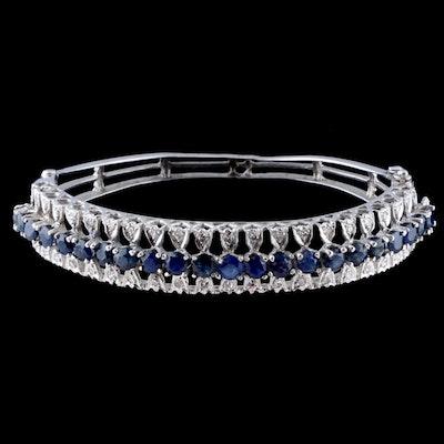A&S 14K White Gold Blue Sapphire and Diamond Hinged Bracelet
