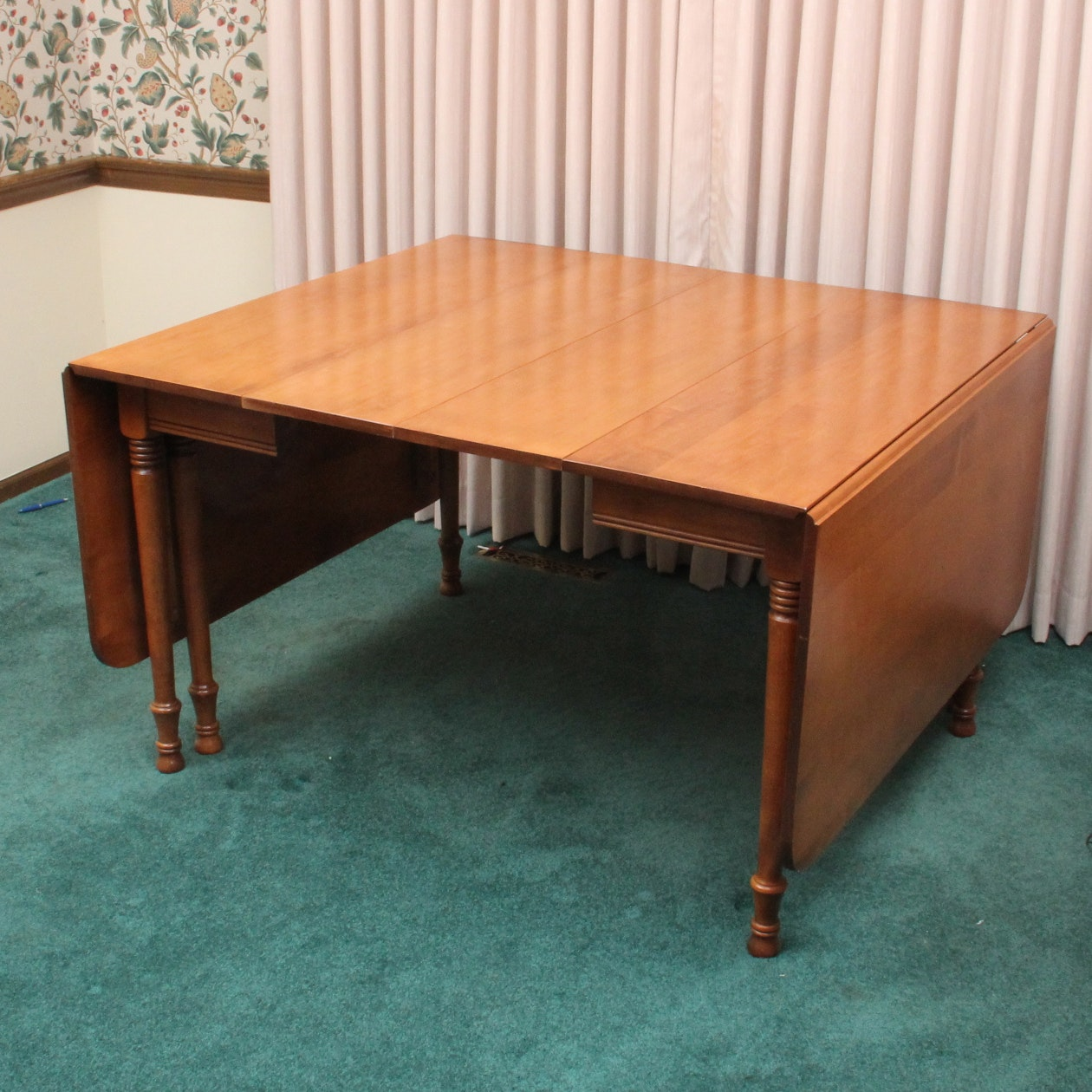 Maple Kitchen Table With Chair And Bench Ebth: Vintage Tell City Chair Company Maple Drop Leaf Dining