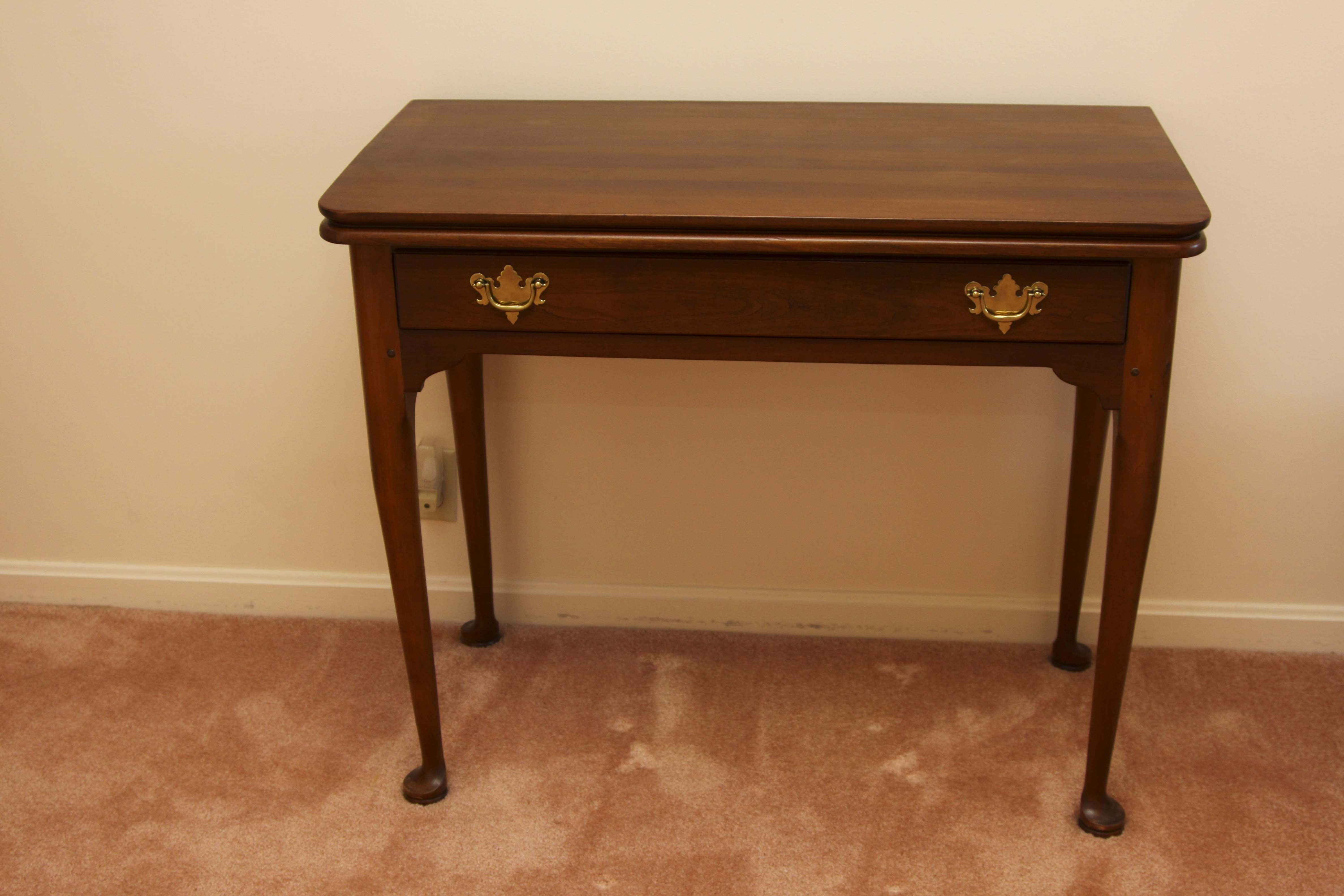 Elegant Stickley Fold Over Top Game Table With Drawer ...