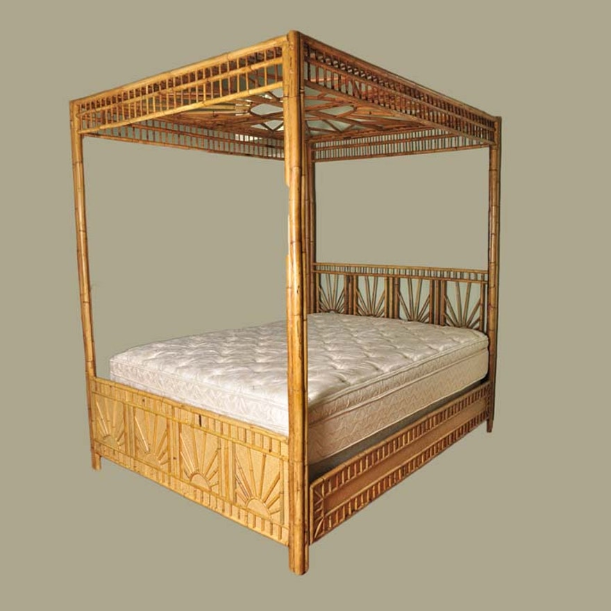 Queen Canopy Bamboo Bed Frame Ebth