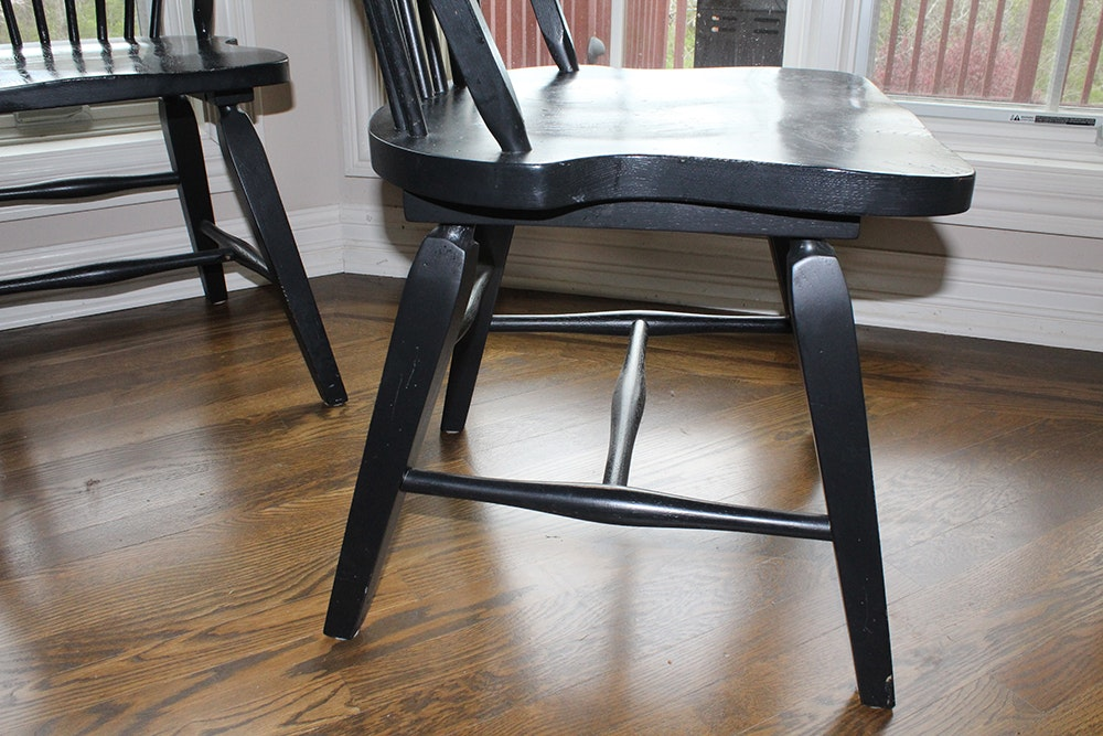 Broyhill Attic Heirlooms Windsor Style Black Chairs Ebth