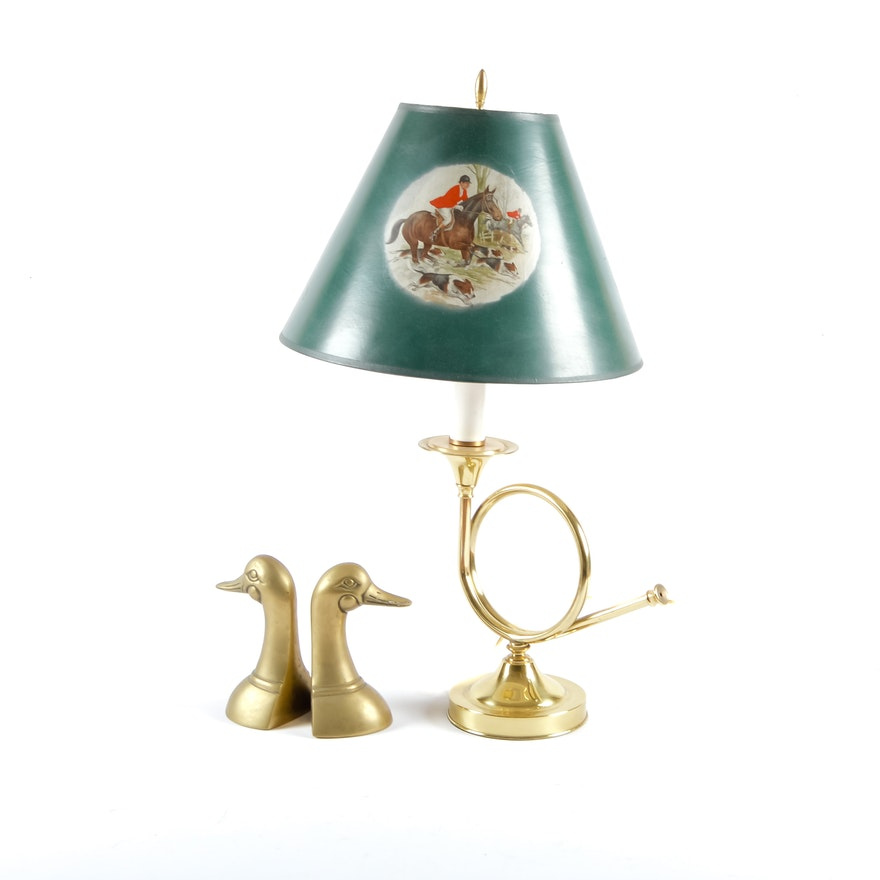 Fox Hunting Horn Lamp And Brass Duck Bookends Ebth