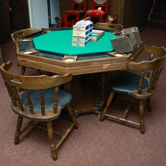 Vintage Bumper Pool Poker Table And Chairs ...