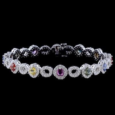 18K White Gold Multi-Color Sapphire and Diamond Bracelet