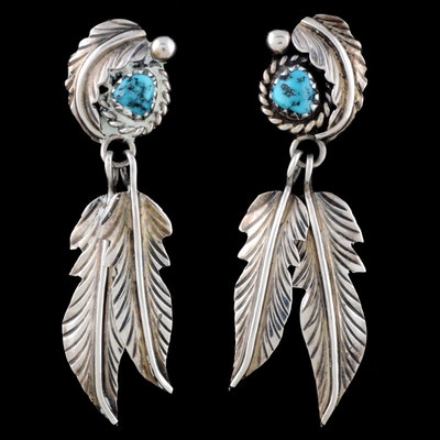 Native American Navajo Sterling Silver and Turquoise Dangle Earrings