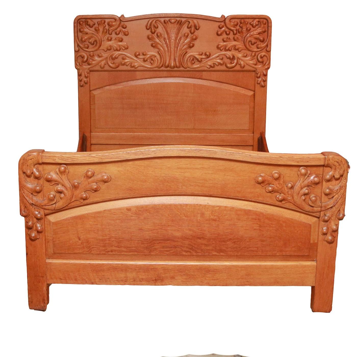 Antique Tiger Oak Full Queen Size Bed Frame Ebth