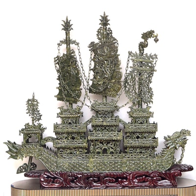 5' Carved Serpentine Ship Sculpture