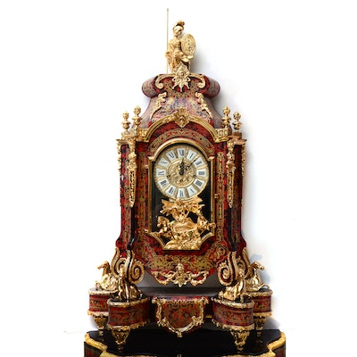 Italian Le Ore 24kt Gold Plate Clock and Table