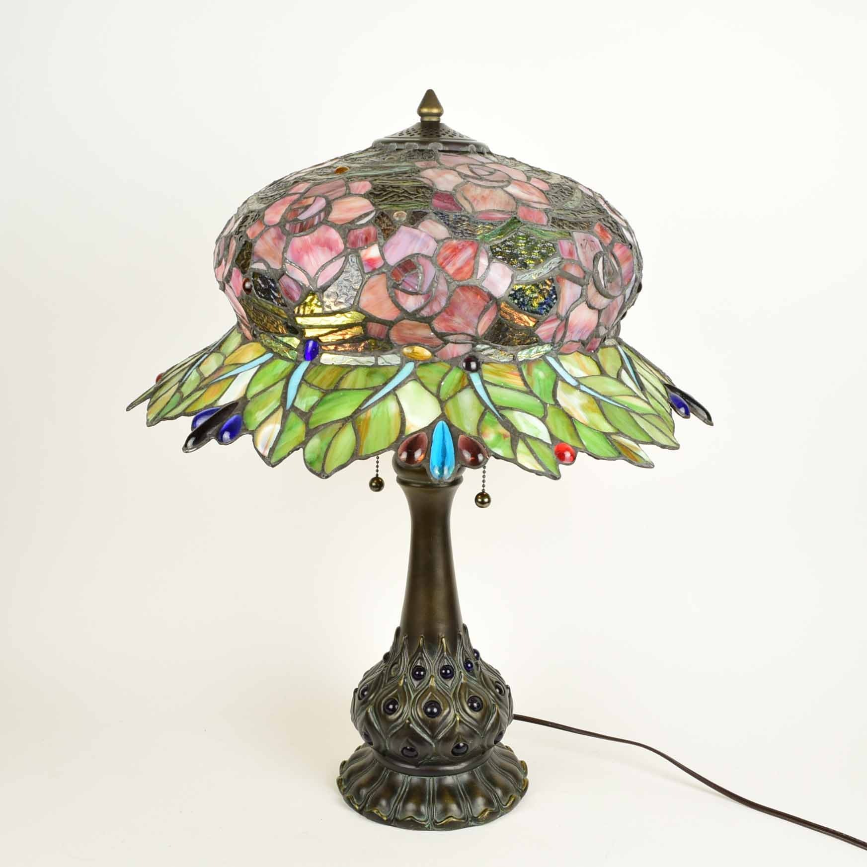 Tiffany Style Bonnet Shade Stained Glass Peacock Lamp ...