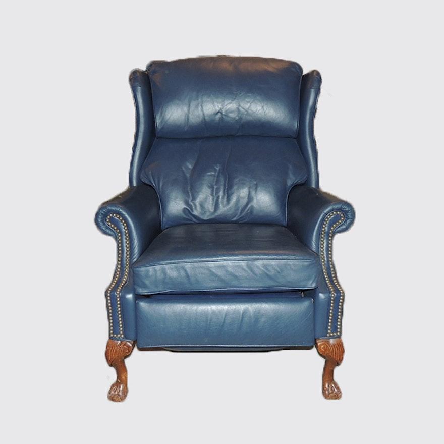 Berkline blue leather textured wingback recliner ebth for Leather wingback recliner sale