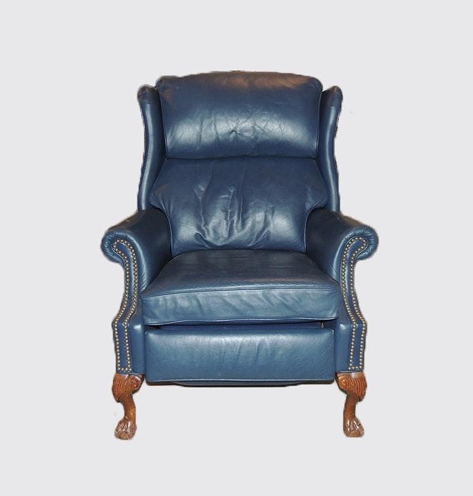 berkline blue wingback recliner