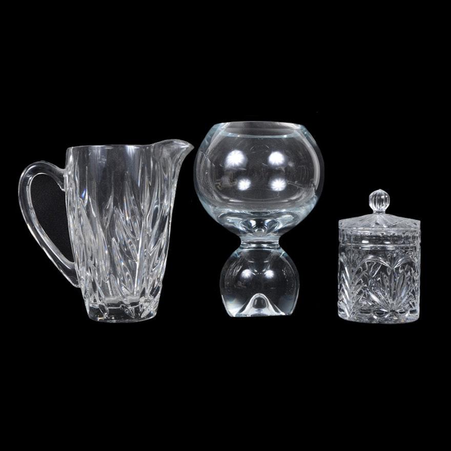 Trio Of Crystal Items Including A Studio Nova Vase Ebth