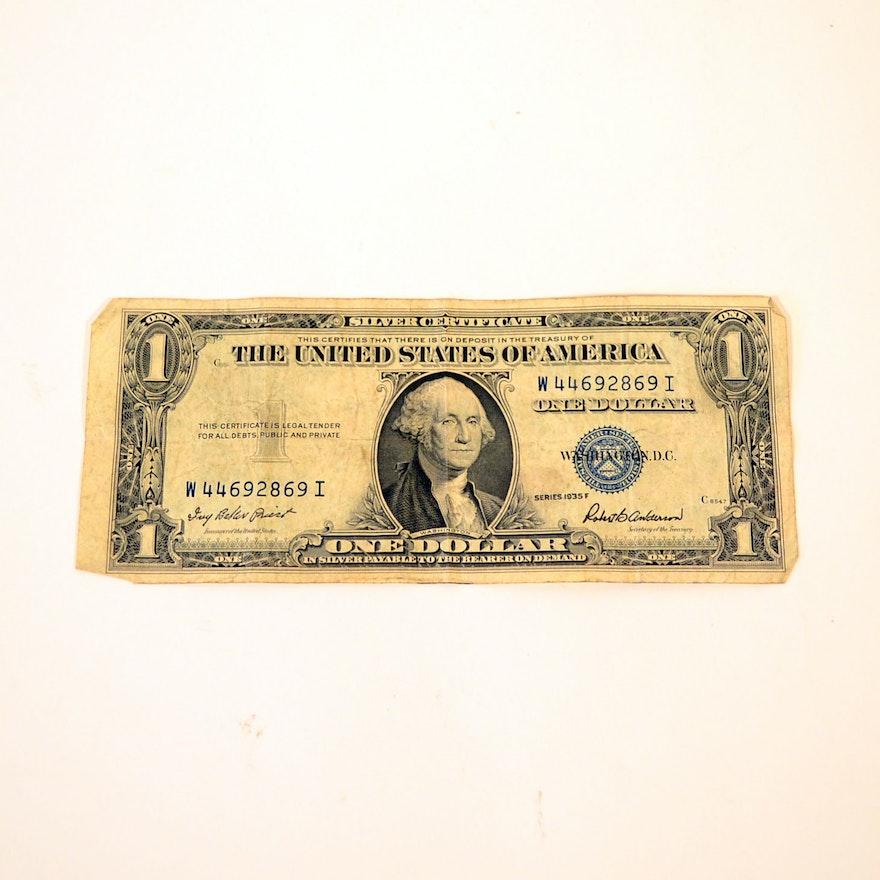 1935 F One Dollar Silver Certificate Ebth