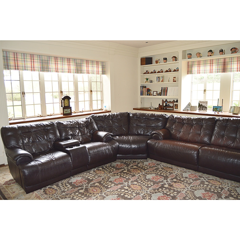 Modern Leggett Platt Dylan Espresso Leather Sectional with