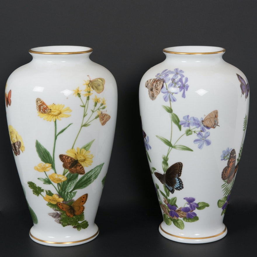 Pair Of Butterfly Porcelain Vases By John Wilkinson Ebth