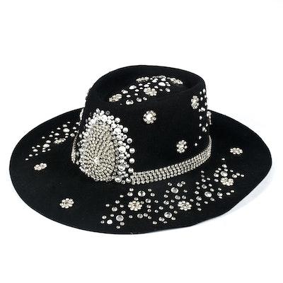 Black Felt Cowboy Hat Embellished with Rhinestones