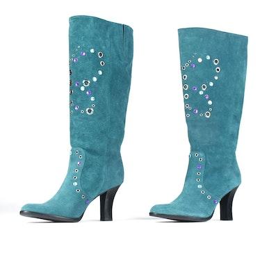 Gianni Bini Designer Teal Suede Embellished Tall Boots