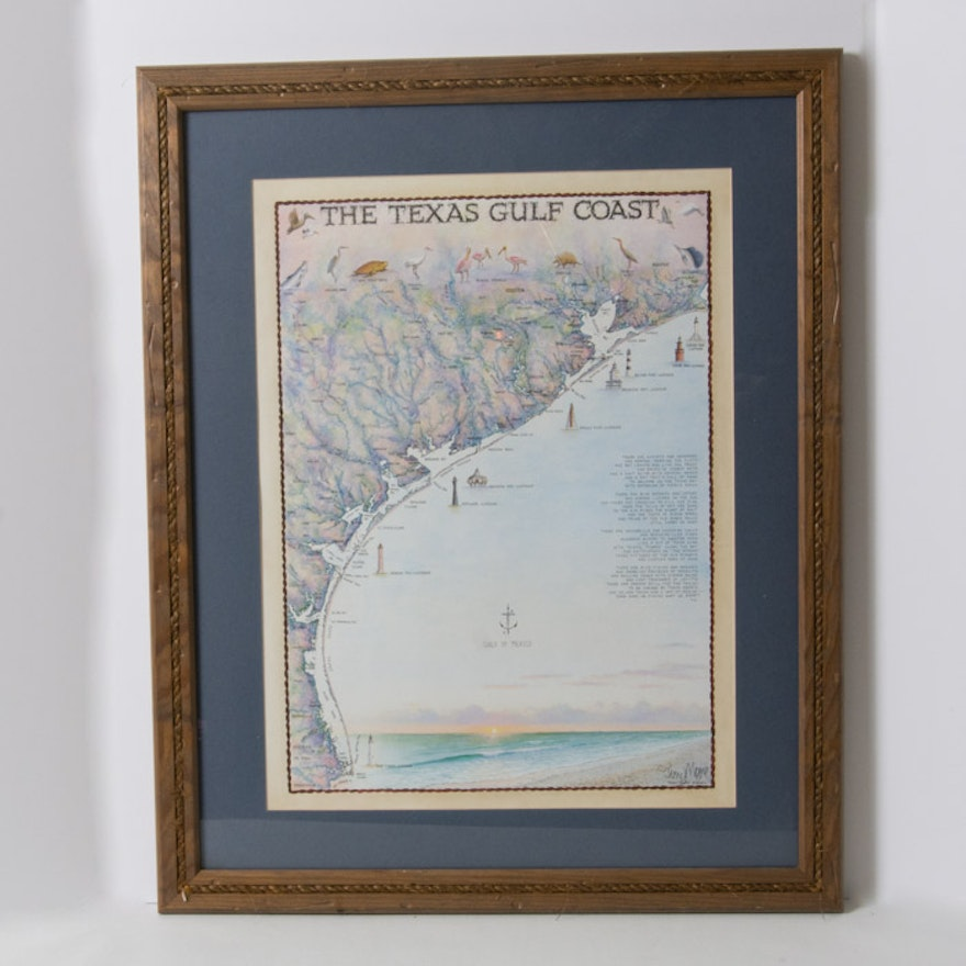 Framed Vintage Texas Gulf Coast Map EBTH - Vintage texas map framed