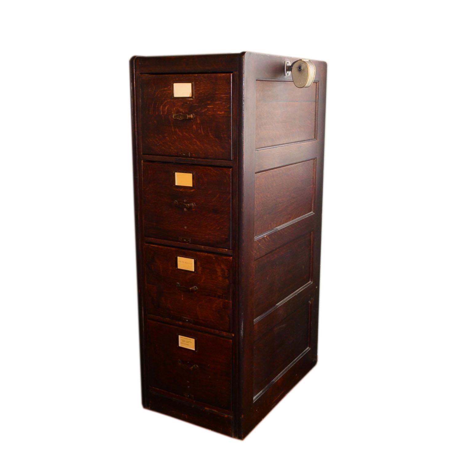 Library Bureau Sole Makers Vintage Oak Four-Drawer Filing Cabinet ...
