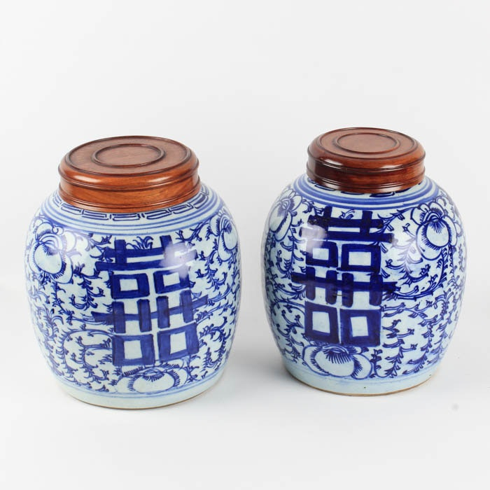 Pair of Chinese Hand Painted Double Happiness Ginger Jars