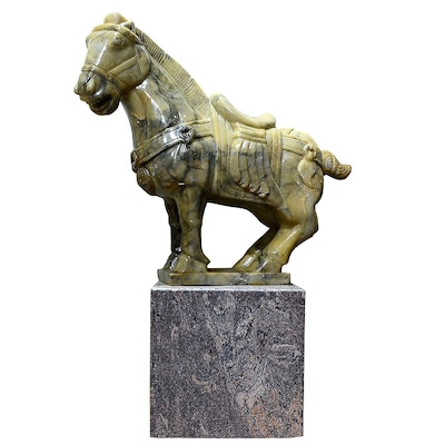 Tang Dynasty Style Jade Horse Sculpture on Marble Plinth