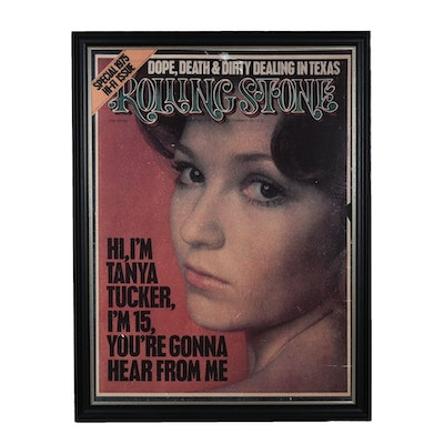 """Framed 1974 """"Rolling Stone"""" Cover Poster Featuring Tanya Tucker"""