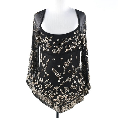 Black Silk Embroidered Blouse with Hand Set Golden Champagne Swarovski Crystal Rhinestones