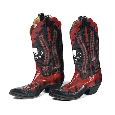 Ammons of El Paso, Texas Red and Black Leather Custom Handmade Cowgirl Boots with Tanya Tucker Logo