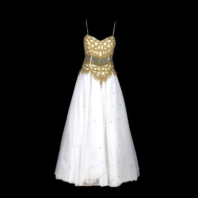 New Cache White Beaded Formal Gown