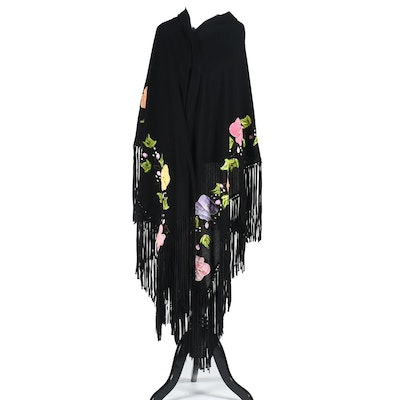Mexican Hand Decorated Black Cotton Shawl with Fringe, New with Tags