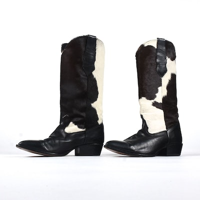 Black Leather and Pony Hair Zodiac Boots