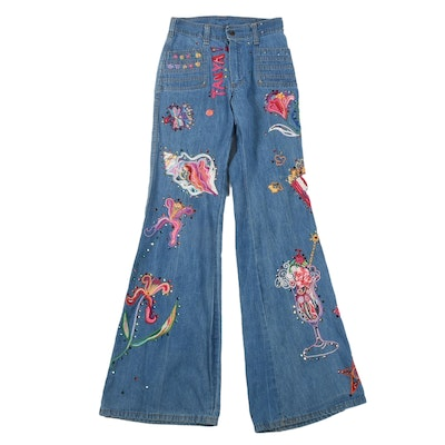 Tanya's 70s Vintage Bell Bottom Denim Jeans with Embroidery and Crystal Rhinestones