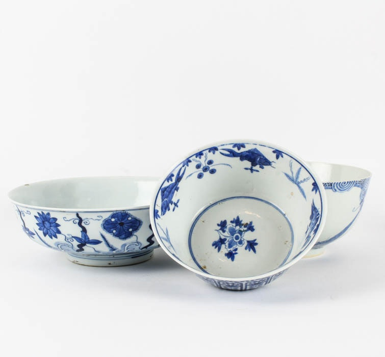 Selection of Chinese Blue and White China Bowls