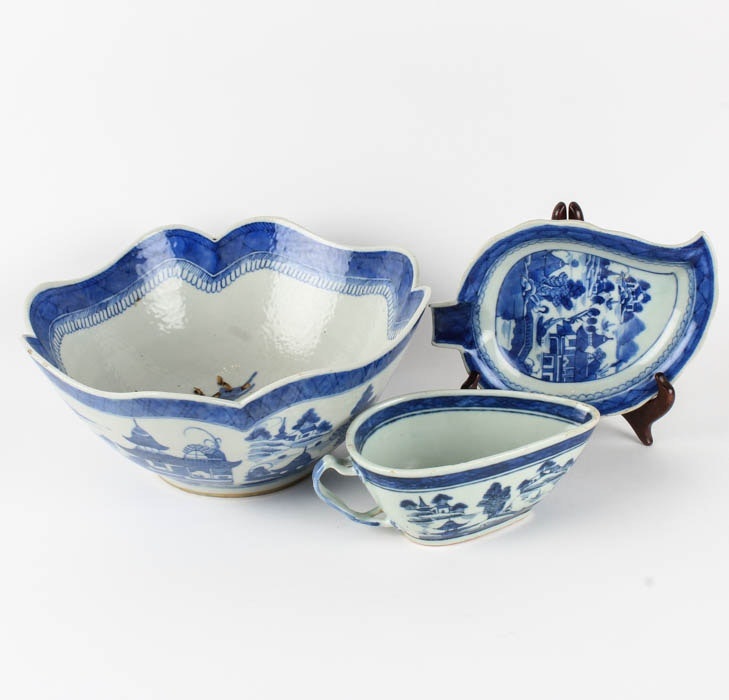 Set of Chinese Blue and White Ceramic Dishes