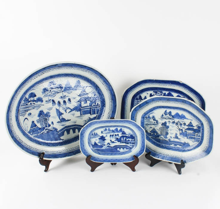 Collection of Chinese Blue Canton Ceramic Platters