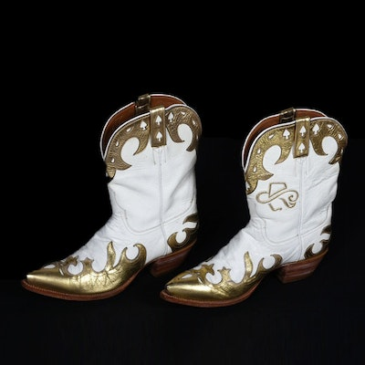 Ammons of El Paso, Texas White and Gold Leather Custom Handmade Mid-Cut Cowgirl Boots with Tanya's Logo