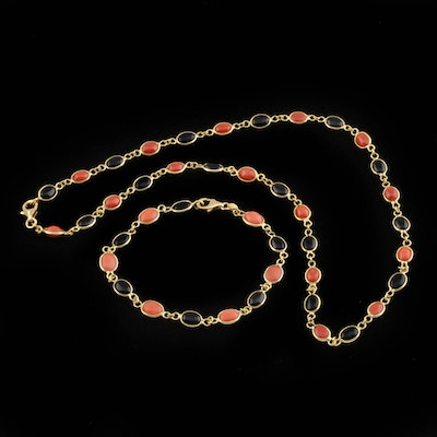 18K Yellow Gold Coral and Black Onyx Link Necklace and Bracelet Demi-Parure Set