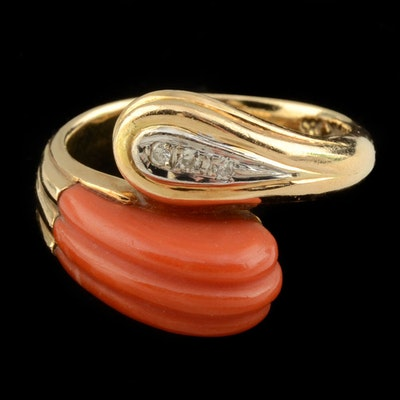 14K Yellow Gold, Carved Coral, and Diamond Bypass Ring