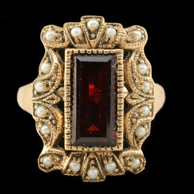 Victorian 9K Yellow Gold Garnet and Seed Pearl Openwork Ring