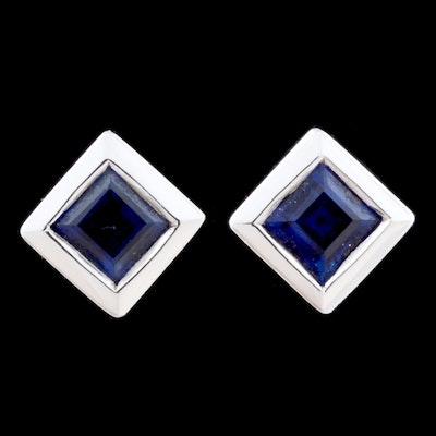 Pair of 18K White Gold Blue Sapphire Post Earrings