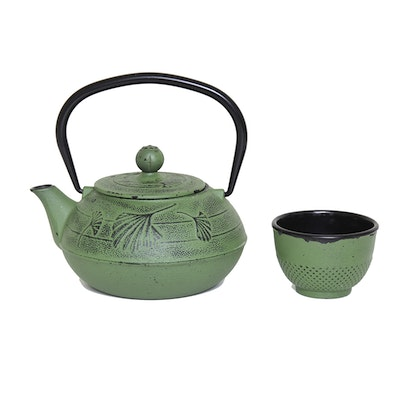 Cast Metal Teapot and Cup